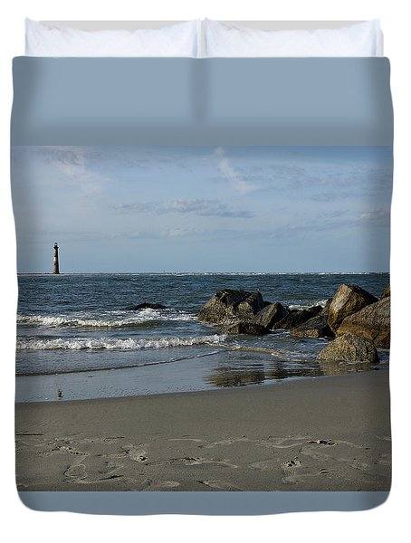 Duvet Cover featuring the photograph Morris Lighthouse by Sandy Keeton