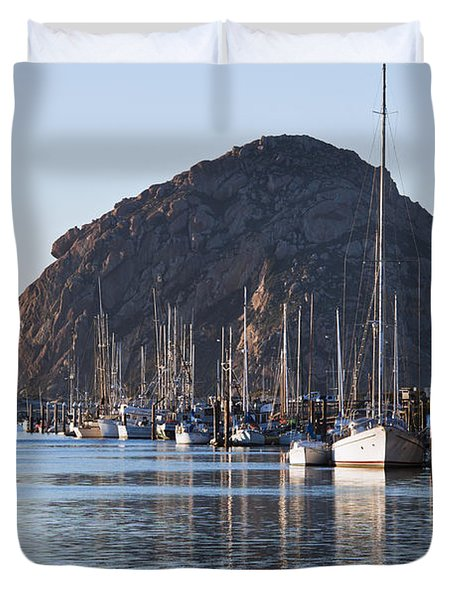 Morro Bay Sailboats Duvet Cover by Bill Brennan - Printscapes