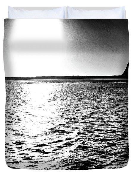 Morro Rock, Black And White Duvet Cover