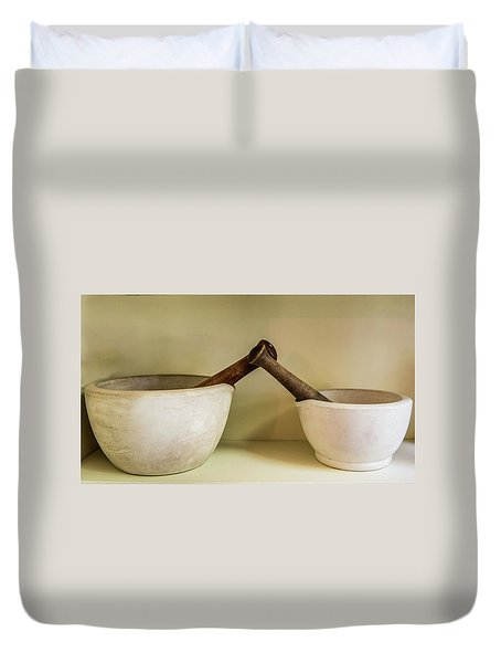 Duvet Cover featuring the photograph Mortar And Pestle by Paul Freidlund