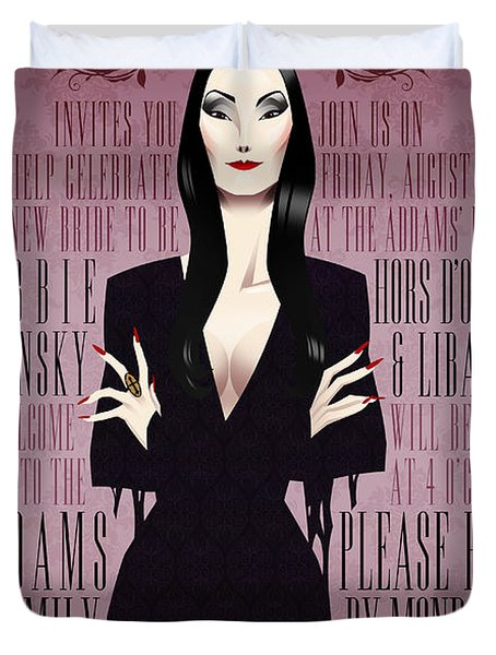 Morticia Addams Bridal Shower Invite Duvet Cover