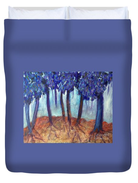 Duvet Cover featuring the painting Mosaic Daydreams by Elizabeth Fontaine-Barr