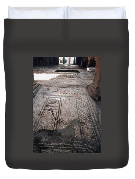 Duvet Cover featuring the photograph Mosaic In Pompeii by Marna Edwards Flavell
