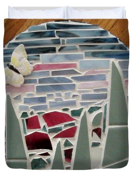 Mosaic Sailboats Duvet Cover by Jamie Frier