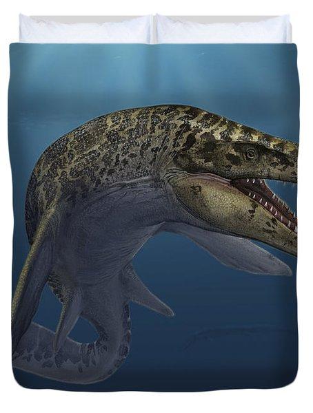 Mosasaurus Hoffmanni Swimming Duvet Cover by Sergey Krasovskiy