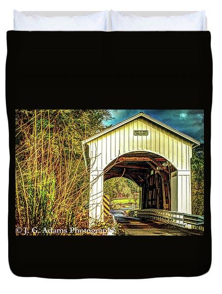 Duvet Cover featuring the photograph Mosby Creek Bridge by Jim Adams