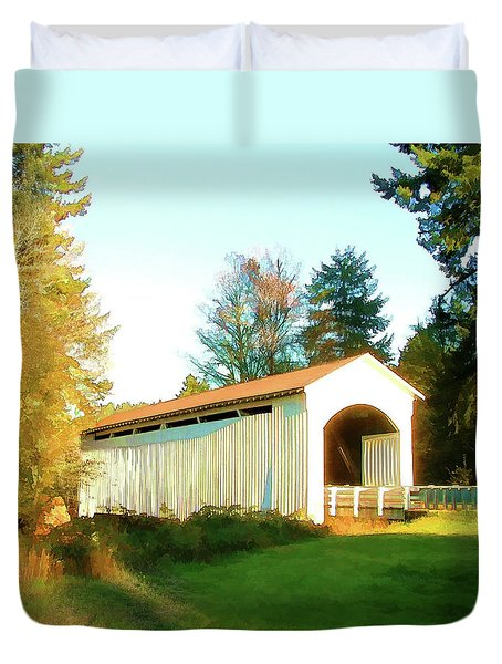 Mosby Creek Covered Bridge Duvet Cover by Wendy McKennon