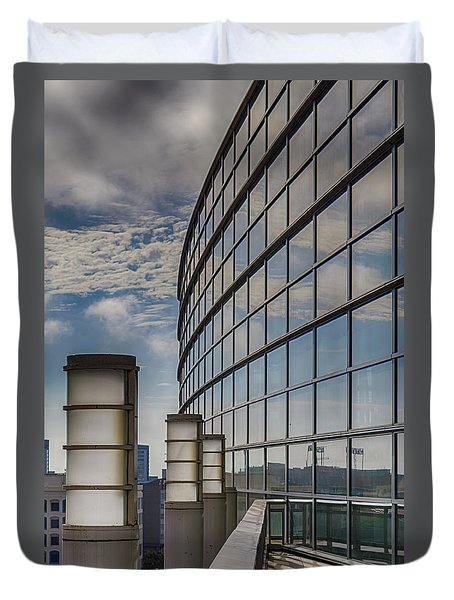 Duvet Cover featuring the photograph Moscone West Balcony by Darcy Michaelchuk
