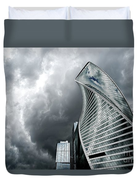 Moscow City And Storm Duvet Cover