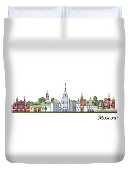 Moscow Skyline Colored Duvet Cover by Pablo Romero