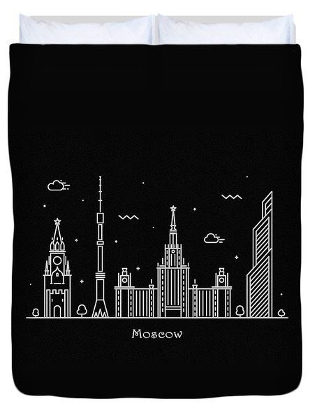 Moscow Skyline Travel Poster Duvet Cover