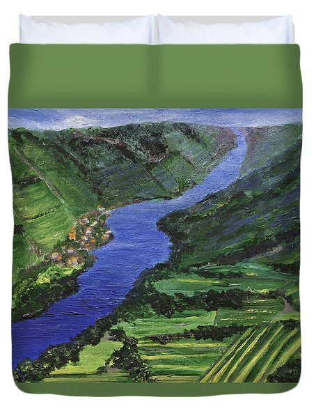 Duvet Cover featuring the painting Moselle River by Jamie Frier