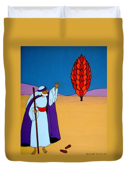 Moses And The Burning Bush Duvet Cover by Stephanie Moore