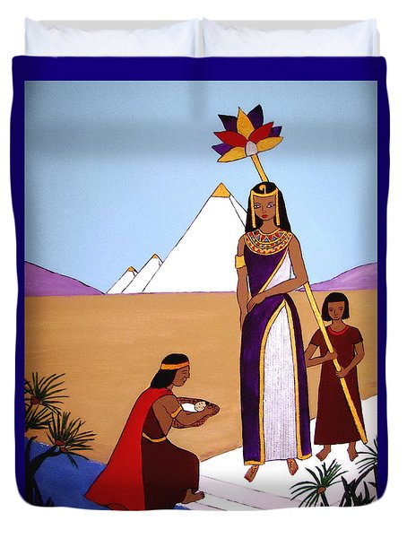 Duvet Cover featuring the painting Moses In The Bullrushes by Stephanie Moore