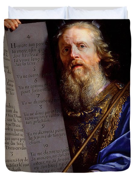 Moses Presenting The Tablets Of The Law, 1602 - 1674 Duvet Cover