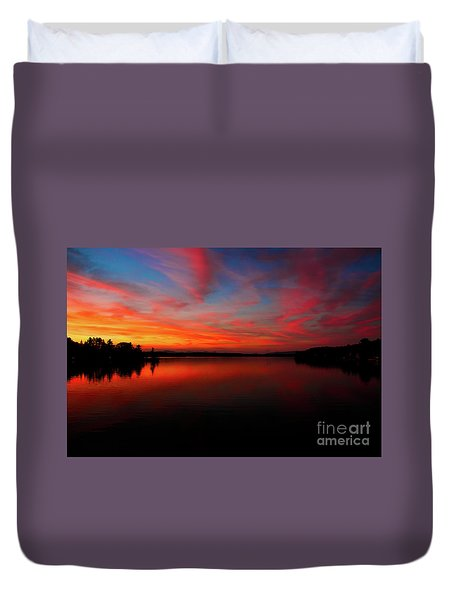 Mosquito Bridge Sunset Duvet Cover by Mim White