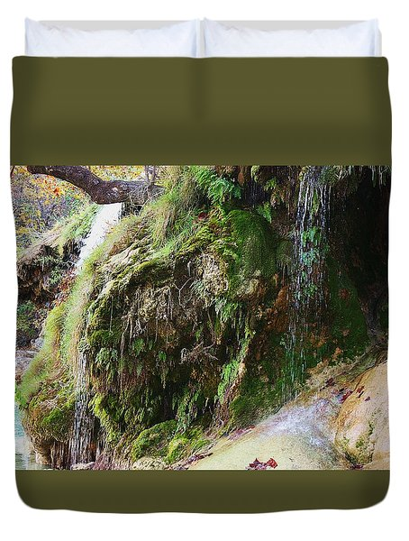 Duvet Cover featuring the photograph Moss And Waterfalls by Sheila Brown