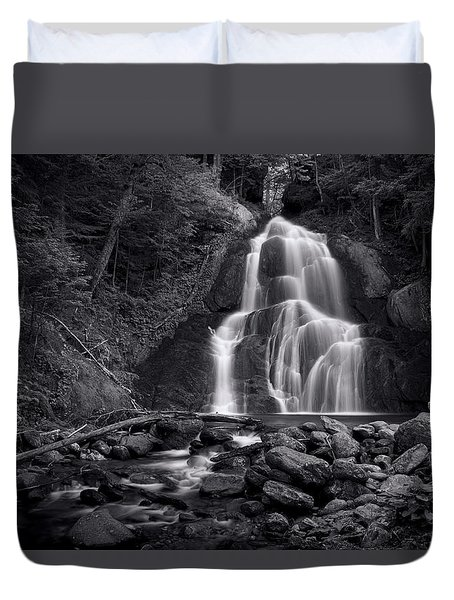 Moss Glen Falls - Monochrome Duvet Cover by Stephen Stookey