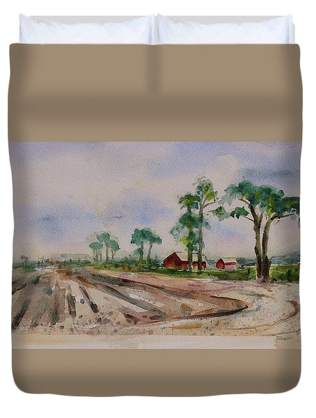 Duvet Cover featuring the painting Moss Landing Pine Trees Farm California Landscape 2 by Xueling Zou