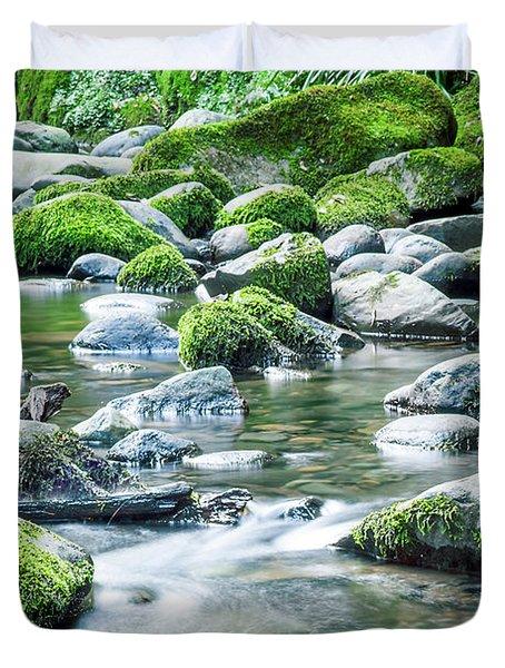 Mossy Forest Stream Duvet Cover