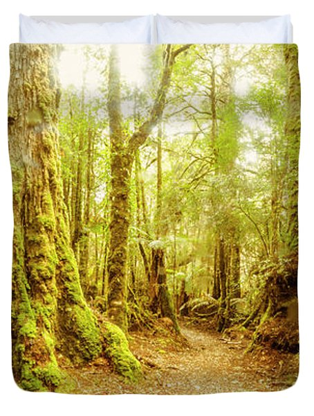 Mossy Forest Trails Duvet Cover