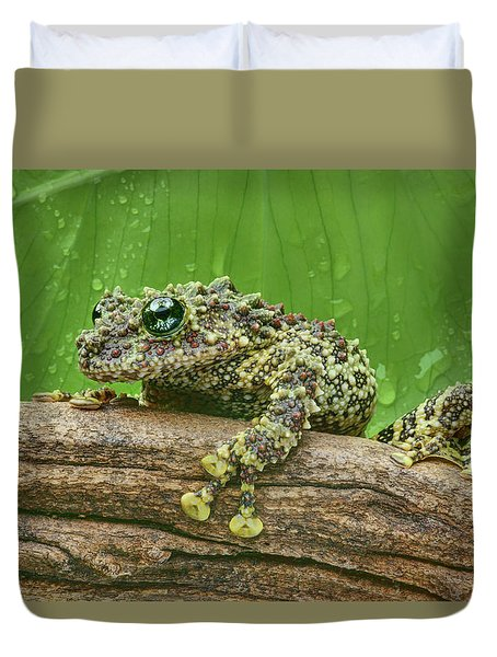 Duvet Cover featuring the photograph Mossy Frog by Nikolyn McDonald