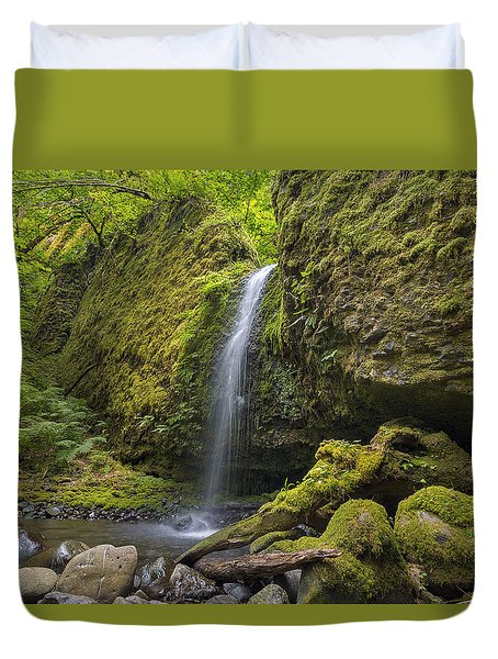 Mossy Grotto Falls In Summer Duvet Cover by David Gn