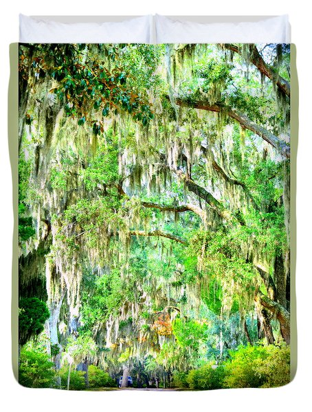 Duvet Cover featuring the photograph Mossy Oak Pathway H D R by Lisa Wooten