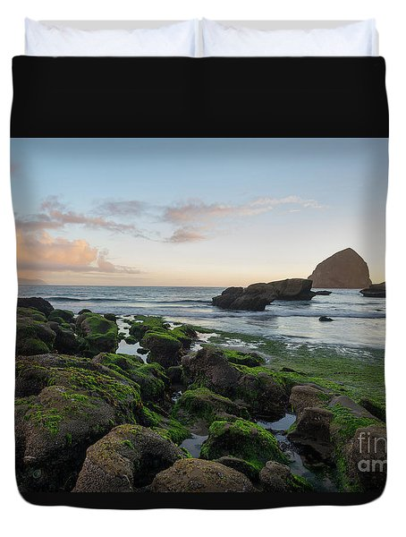 Mossy Rocks At The Beach Duvet Cover