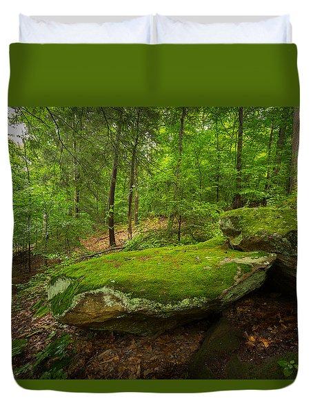 Mossy Rocks In Little Creek Park Duvet Cover