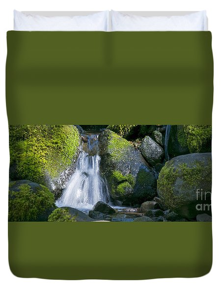 Mossy Rocks Stream Duvet Cover
