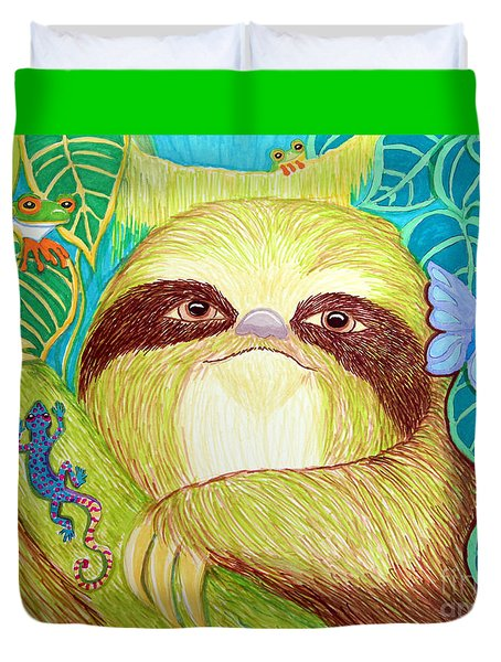 Mossy Sloth Duvet Cover by Nick Gustafson