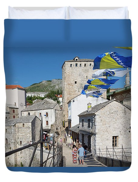 Mostar, Bosnia And Herzegovina.  The Old Town Seen From The Old Bridge. Duvet Cover