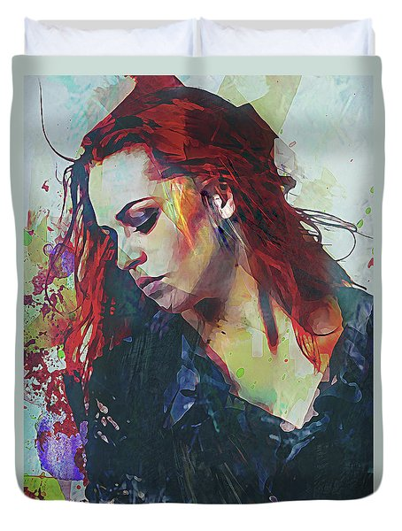 Mostly- Abstract Portrait Duvet Cover