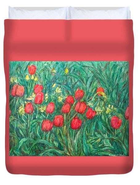 Duvet Cover featuring the painting Mostly Tulips by Kendall Kessler
