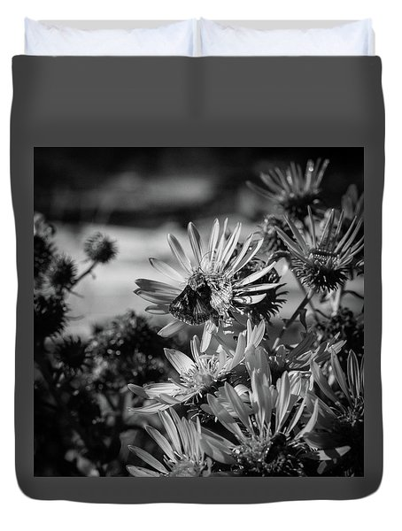 Moth And Flowers Duvet Cover