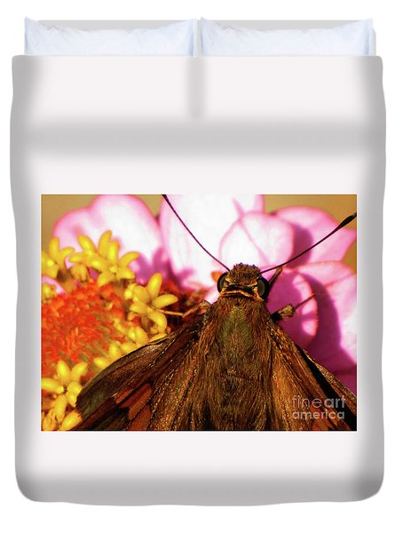 Moth On Pink And Yellow Flowers Duvet Cover