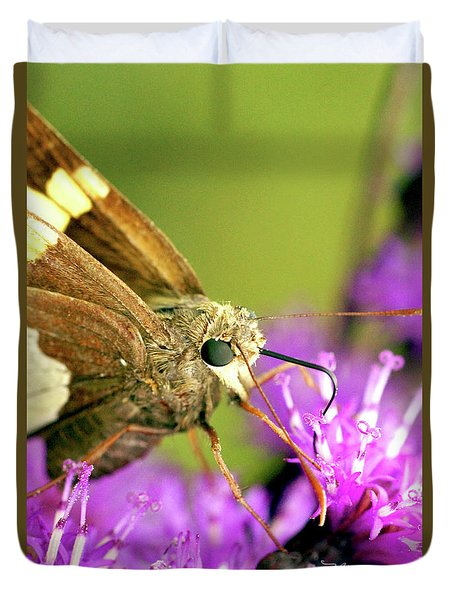 Duvet Cover featuring the photograph Moth On Purple Flower by Meta Gatschenberger