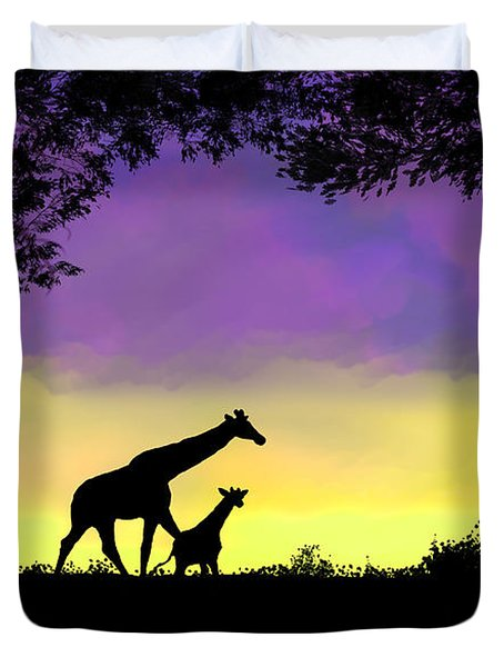Mother And Baby Giraffe At Sunset Duvet Cover
