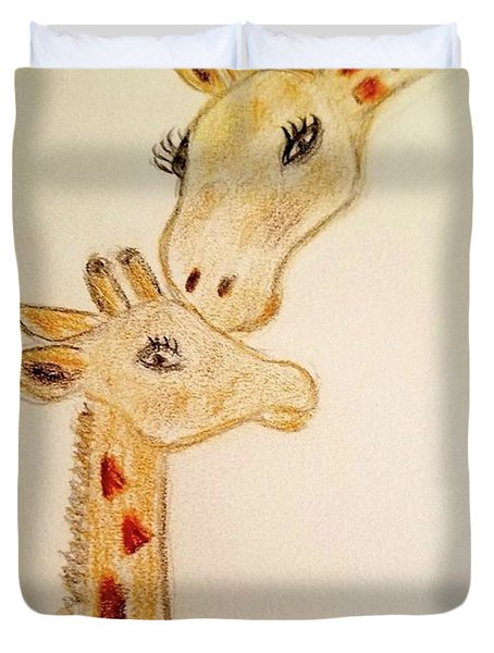 Duvet Cover featuring the painting Mother And Baby Giraffe by Margaret Welsh Willowsilk