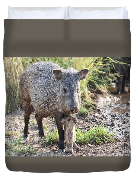 Mother And Baby Javelina Duvet Cover