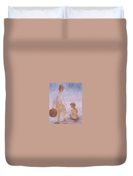 Mother And Baby On The Beach Duvet Cover