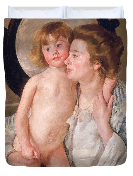 Mother And Boy Duvet Cover by Mary Stevenson Cassatt
