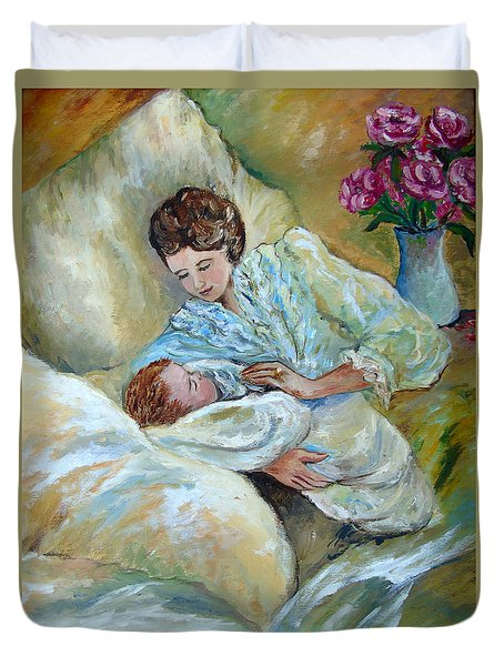 Mother And Child By May Villeneuve Duvet Cover