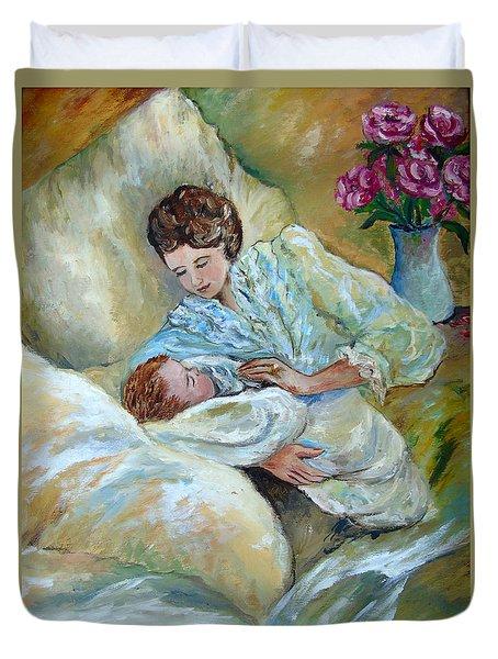 Mother And Child By May Villeneuve Duvet Cover by Susan Lafleur for May Villeneuve