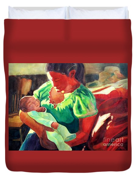 Duvet Cover featuring the painting Mother And Child In Red2 by Kathy Braud