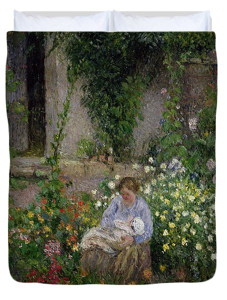 Mother And Child In The Flowers Duvet Cover by Camille Pissarro