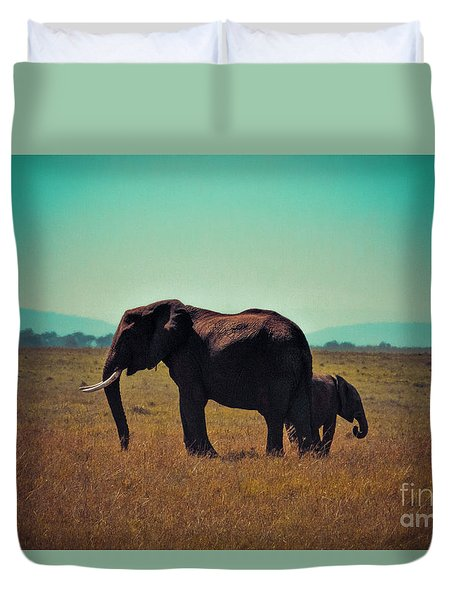 Duvet Cover featuring the photograph Mother And Child by Karen Lewis
