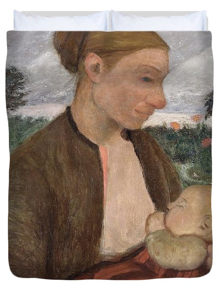 Mother And Child Duvet Cover by Paula Modersohn Becker