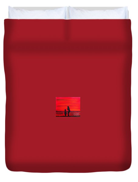 Duvet Cover featuring the painting Mother And Child by Rod Jellison